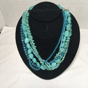 Turquoise Blue Colored Multi Beads Short Necklace